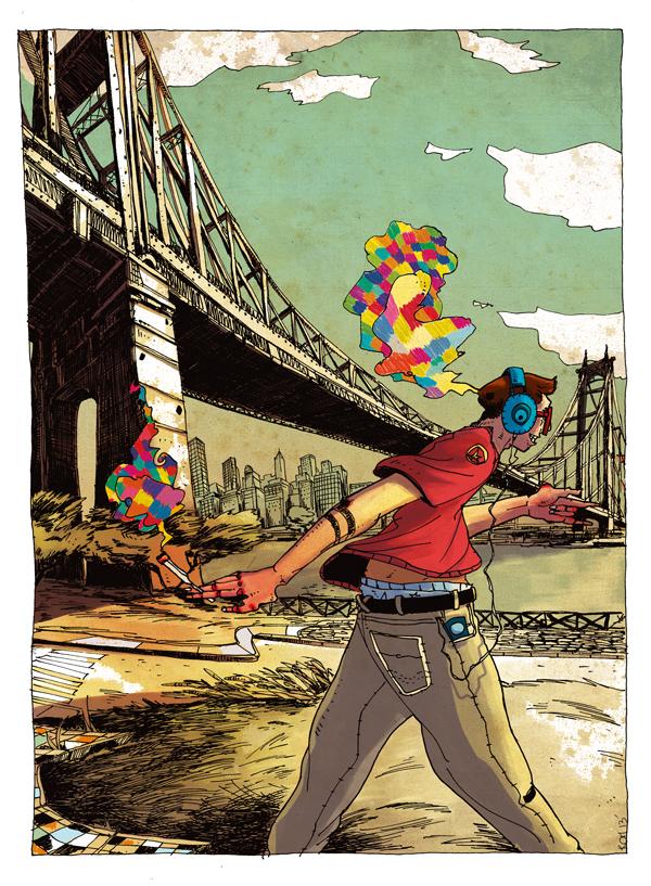 5 min in Ny City - East River Bridge - illustration romain laforet