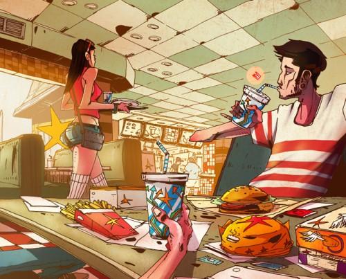 pretty girl fast food - illustration romain laforet