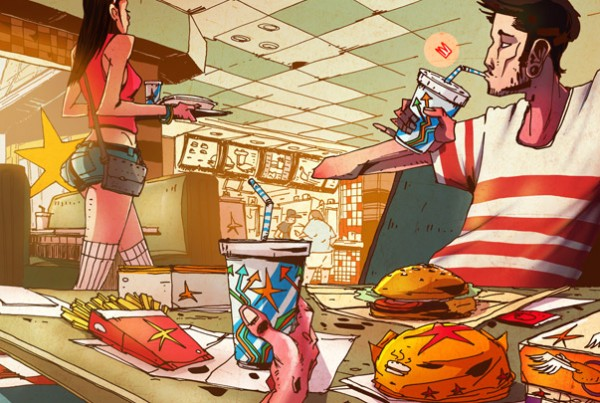 pretty girl fast food - illustration romain laforet