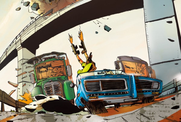 car chase - illustration romain laforet