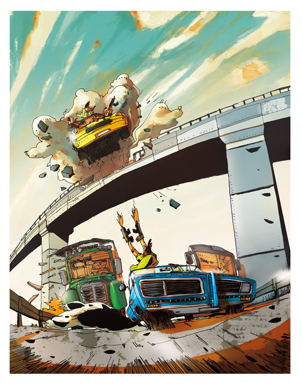 Car Chase - 39,5° - Illustration Romain Laforet