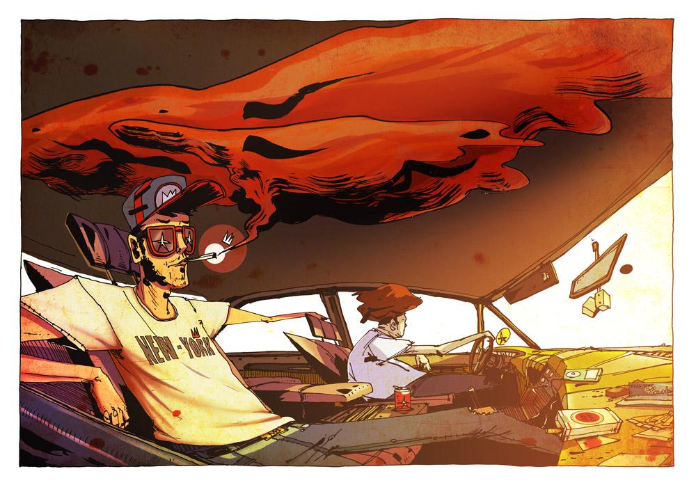 39,5° - 2 bro 1 car - Illustration Romain Laforet