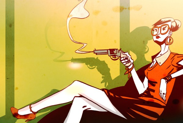 Girl and Gun - illustration Romain Laforet