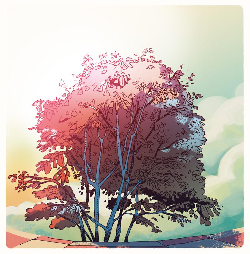 Pink Tree - illustration Romain Laforet