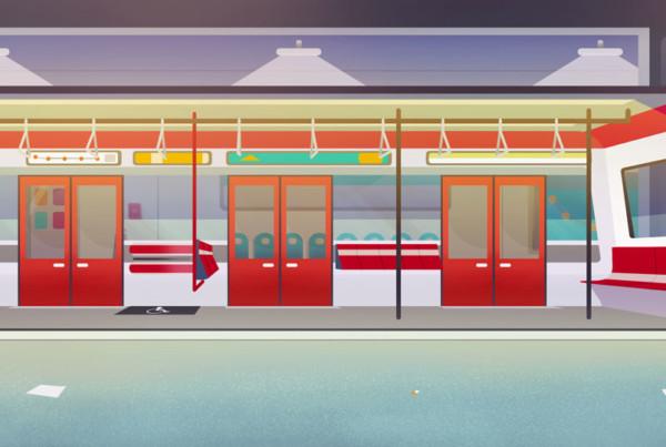 Décor métro intérieur - projet UGO Alstom - Romain Laforet