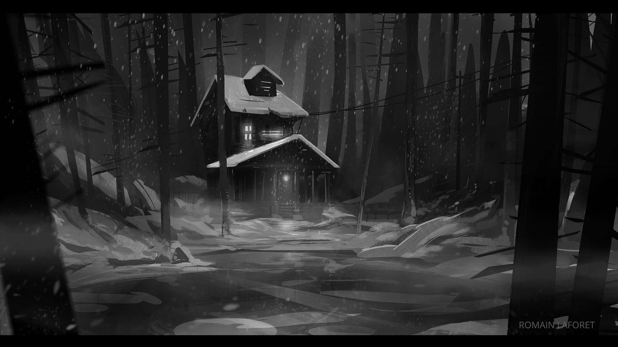 creepy cabin romain laforet concept art noir et blanc