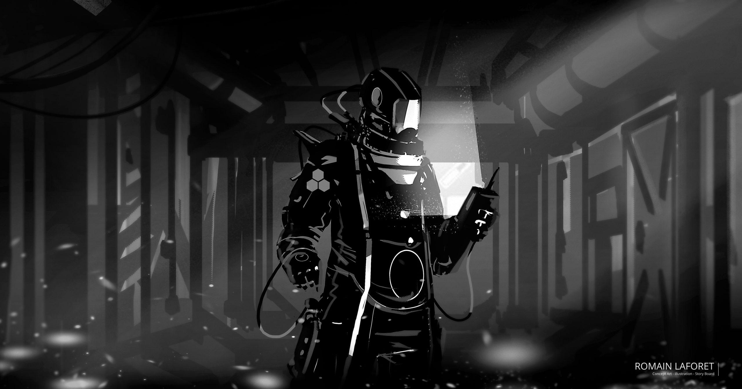 space suit concept art noir et blanc romain laforet
