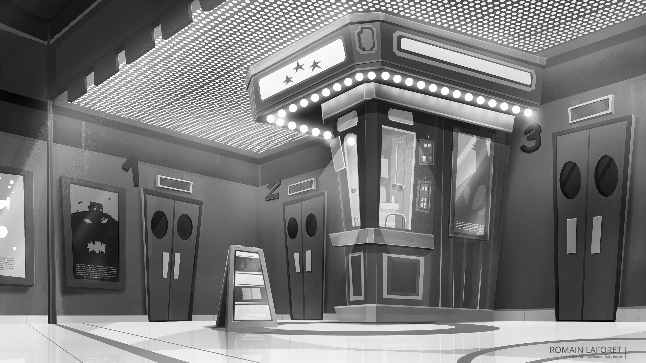 cinema ticket booth concept background noir et blanc romain laforet