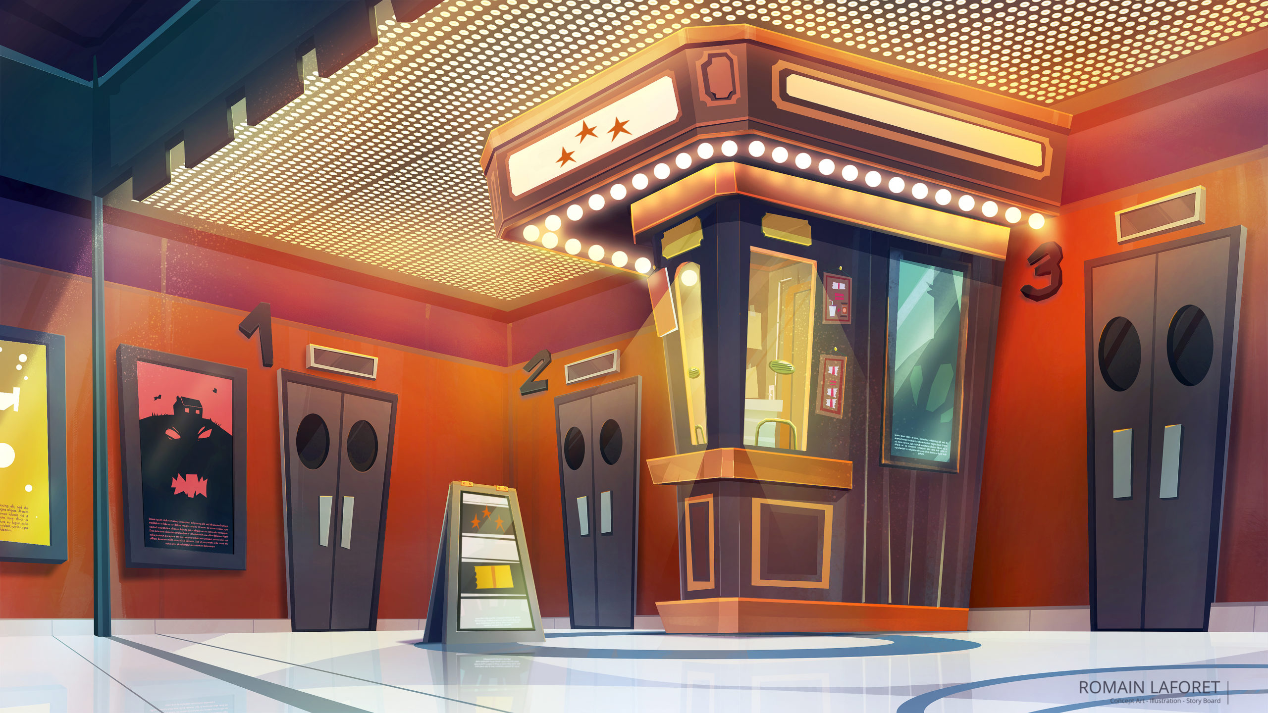 cinema ticket booth concept background romain laforet