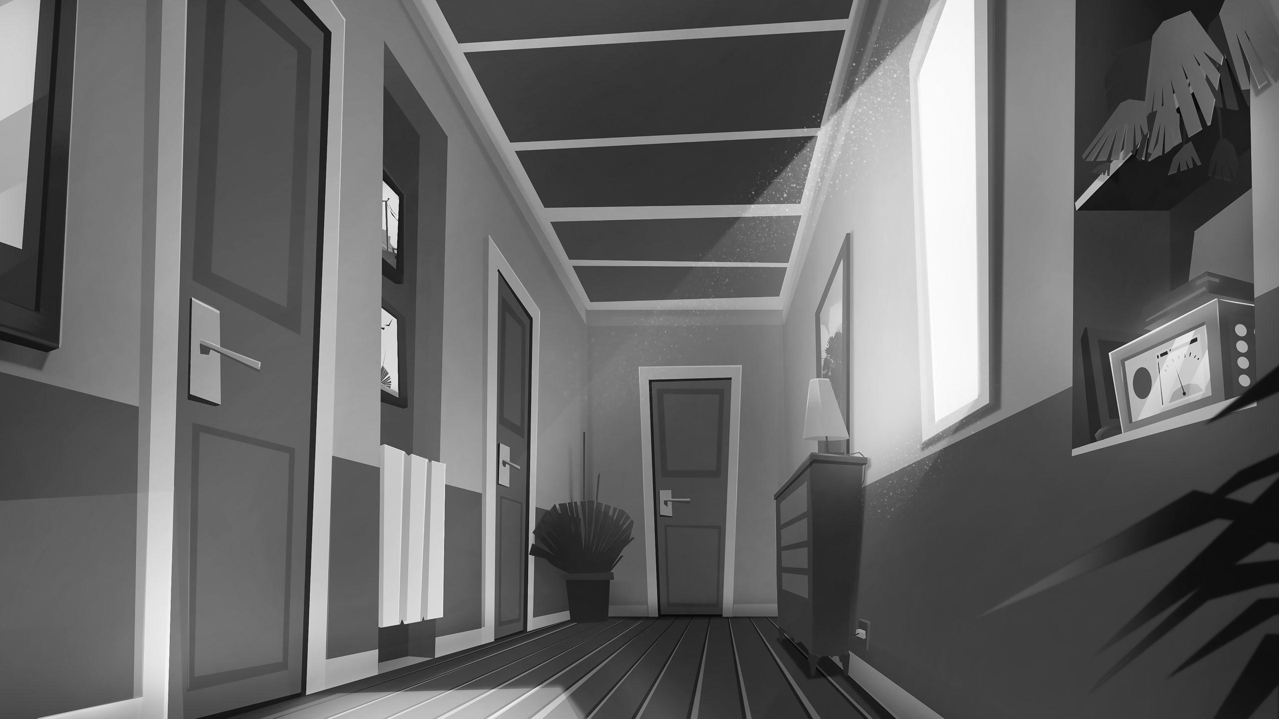 corridor with light concept background noir et blanc romain laforet
