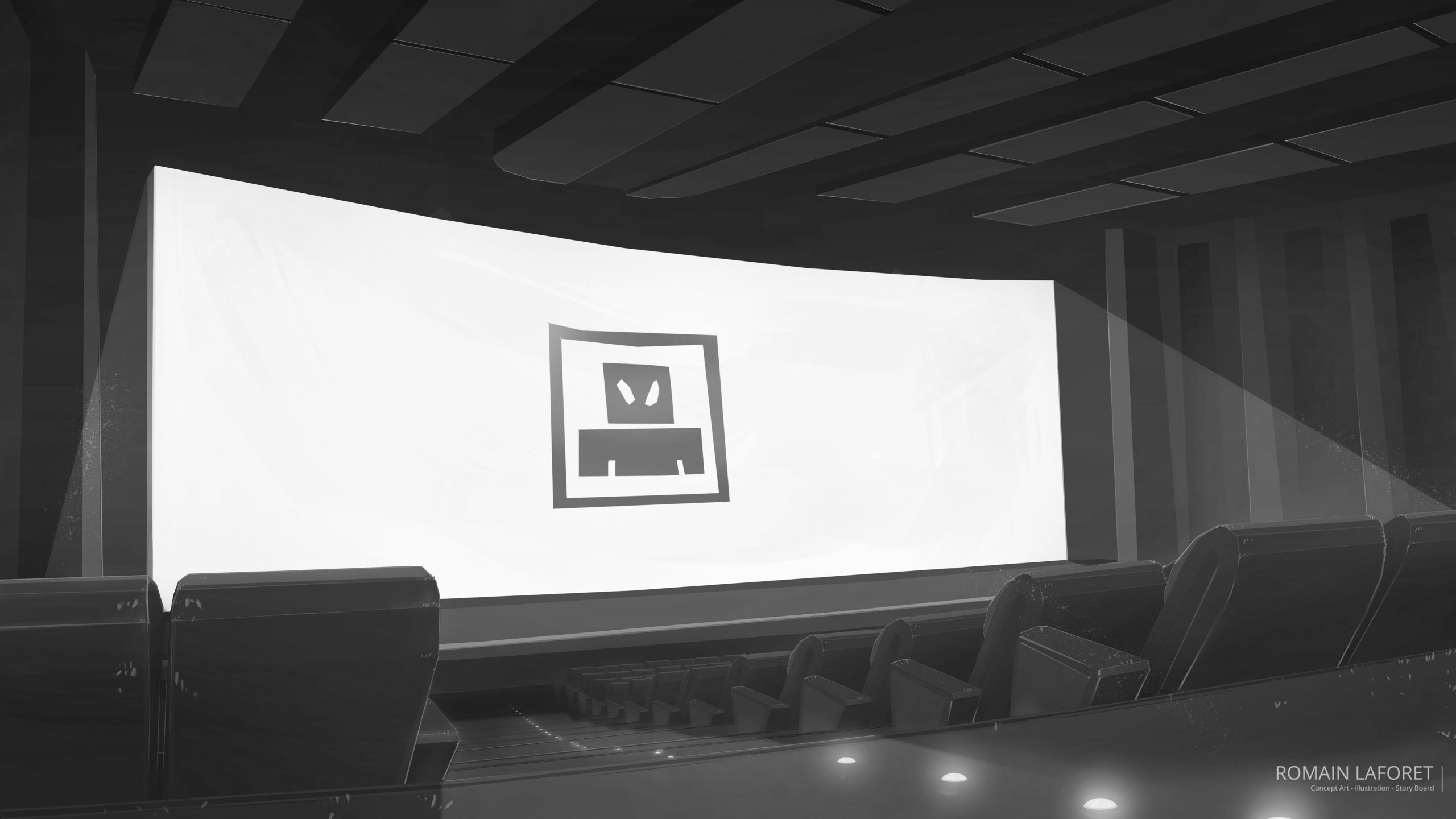 Movie theater concept background noir et blanc romain laforet