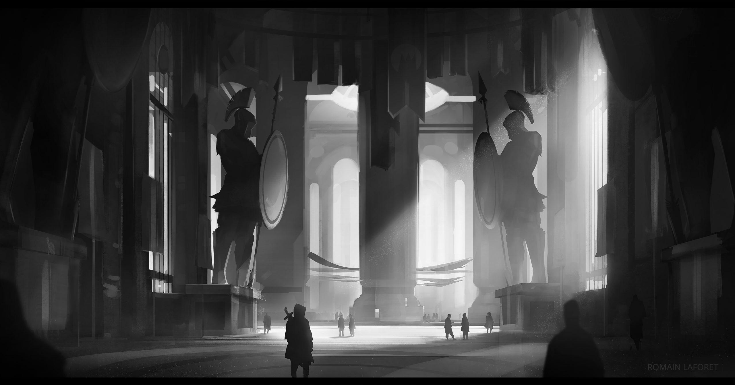 forum entrance romain laforet concept art noir et blanc