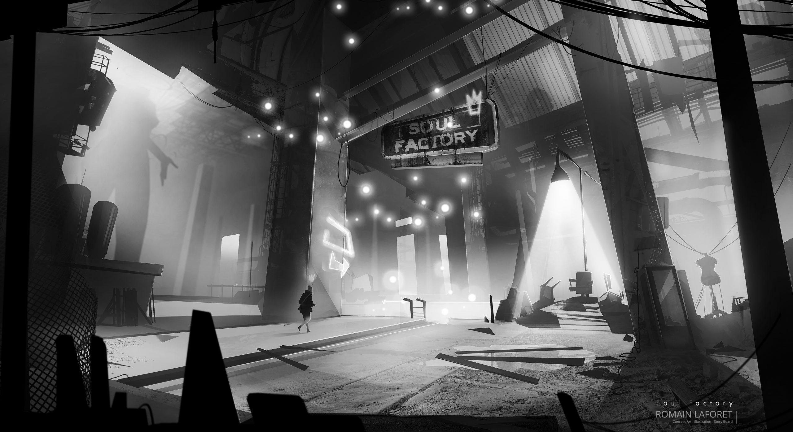 Soul factory romain laforet concept art environment concept noir et blanc